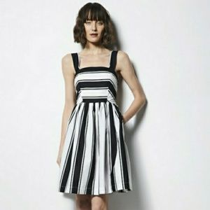 Milly   Stripe Fit Flare Dress Pockets